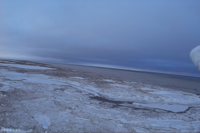 A DataHawk's view of the sea ice and tundra today at Oliktok Point.