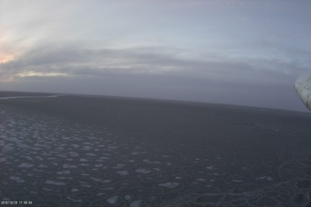 The newly forming sea ice, as seen from 20 meters above during a DataHawk flight.