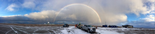 A snow-bow over Oliktok as the tethered balloon crew operates their system (photo: Carl Schmitt).