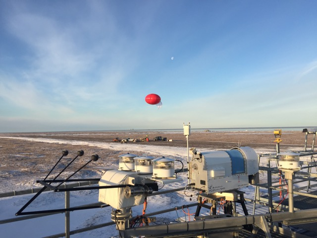 The tethered ballon as it is launched from the runway.