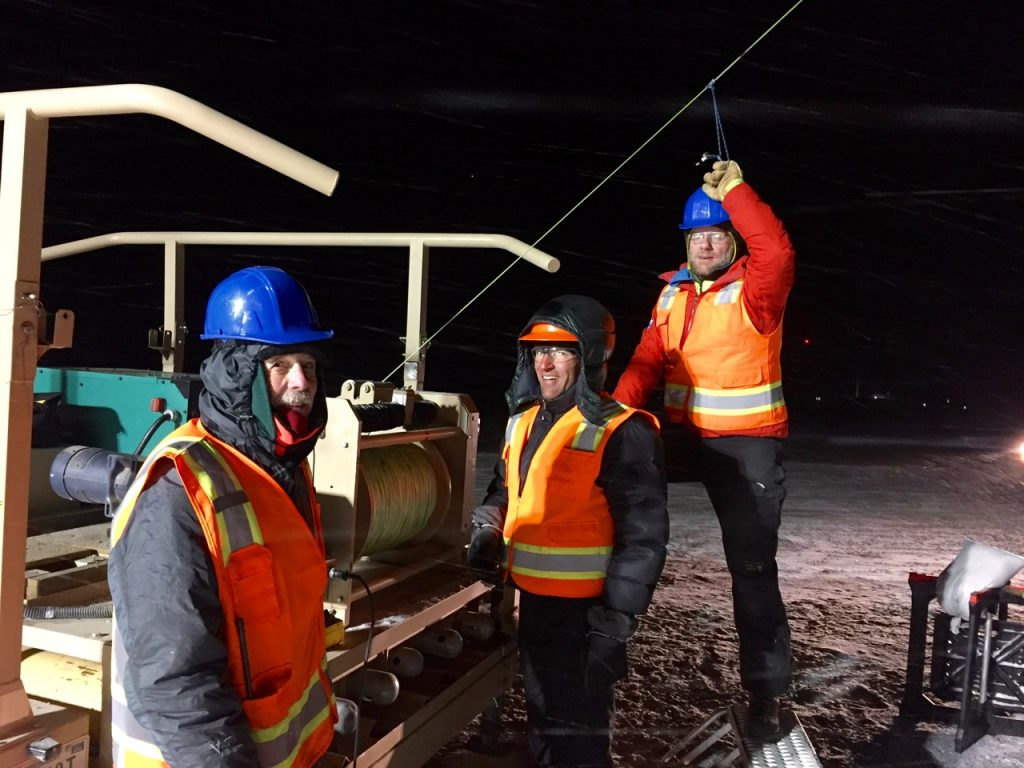 Al, Carl and Matt working to get the last few meters of tether in at the end of the day. All smiles!