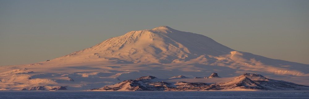 McMurdo Station and Mt. Erebus at sunset from the Pegasus runway.