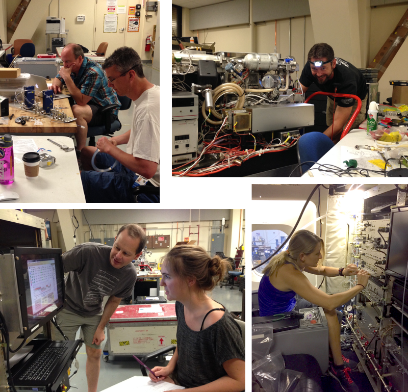 A few candid shots of the NOAA/CIRES teams during Week 1 of integration. Clockwise from top right: Karl Froyd preparing the PALMS particle mass spectrometer in the lab, Chelsea Thompson (me) installing gas plumbing for NOyO3 on the aircraft, Chuck Brock & Christina Williamson testing the Aerosol Microphysical Properties instrument in the lab, and Tom Ryerson & Jeff Peischl working on the NOyO3 inlet plate in the lab.