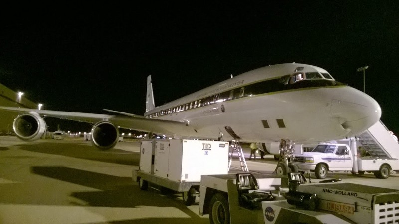 The NASA DC-8 prior to take-off to South Korea. This was at 4:30 am.