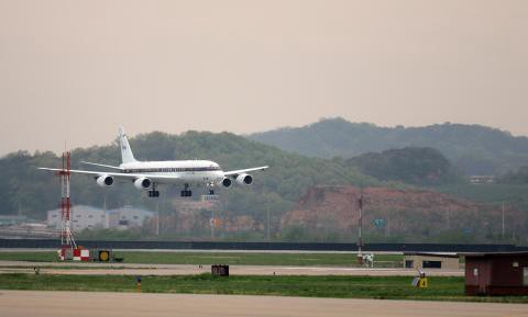 NASA DC-8 landing in Osan Air Force Base. Provided by https://espo.nasa.gov/missions/korus-aq/image/KORUS-AQ_-_DC-8_on_approach.