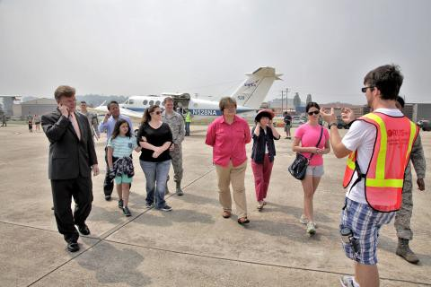 Me leading a tour during the KORUS-AQ open house. The open house provided an opportunity for the general public to see all the airplanes and to learn about the science of the mission. Photo provided by Diego Beltran (https://espo.nasa.gov/missions/korus-aq/image/KORUS-AQ_Open_House_12).