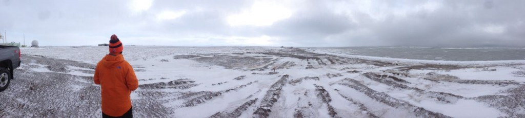 A panoramic view of the near-shore environment that we were sampling this afternoon.  On the right half of the image you can see the mix of sea ice and open water over which the DataHawk was flying.