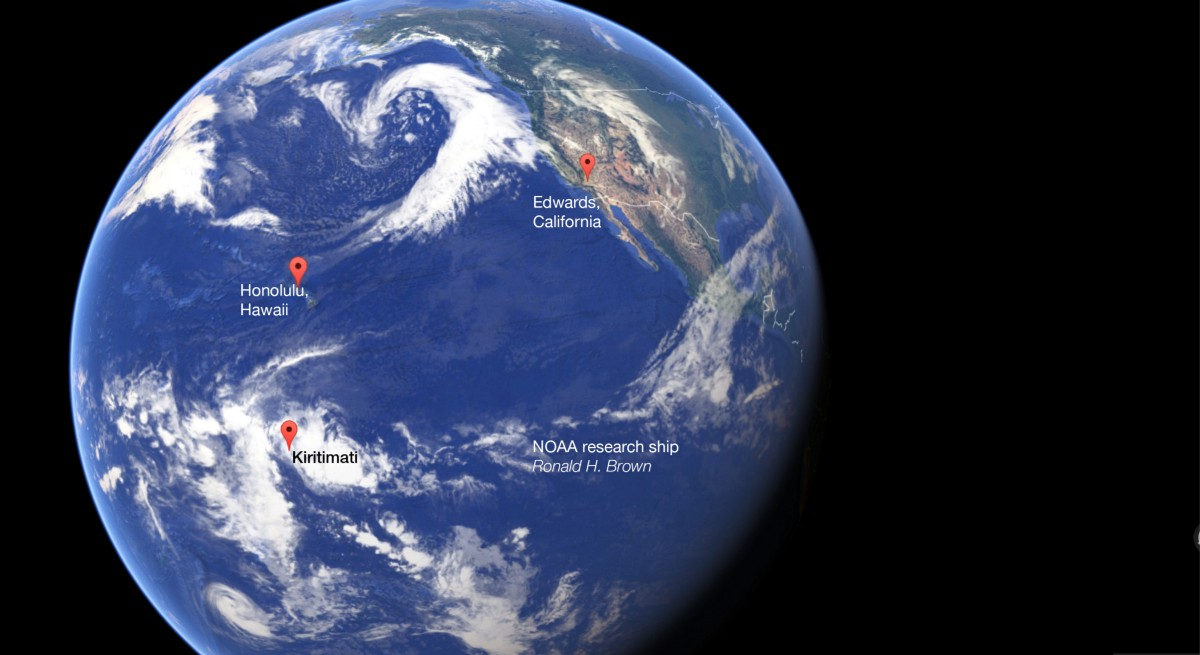 Key sites in NOAA's El Niño Rapid Response mission. Google Earth.
