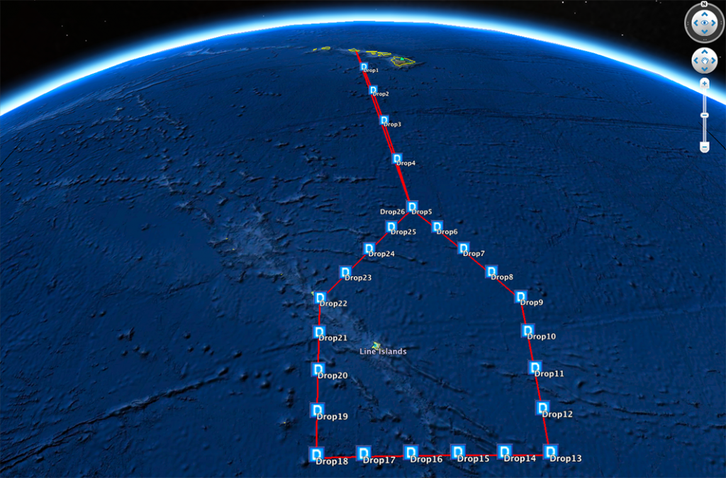 Planned flight track and drop locations for the NOAA G-IV on January 21st.