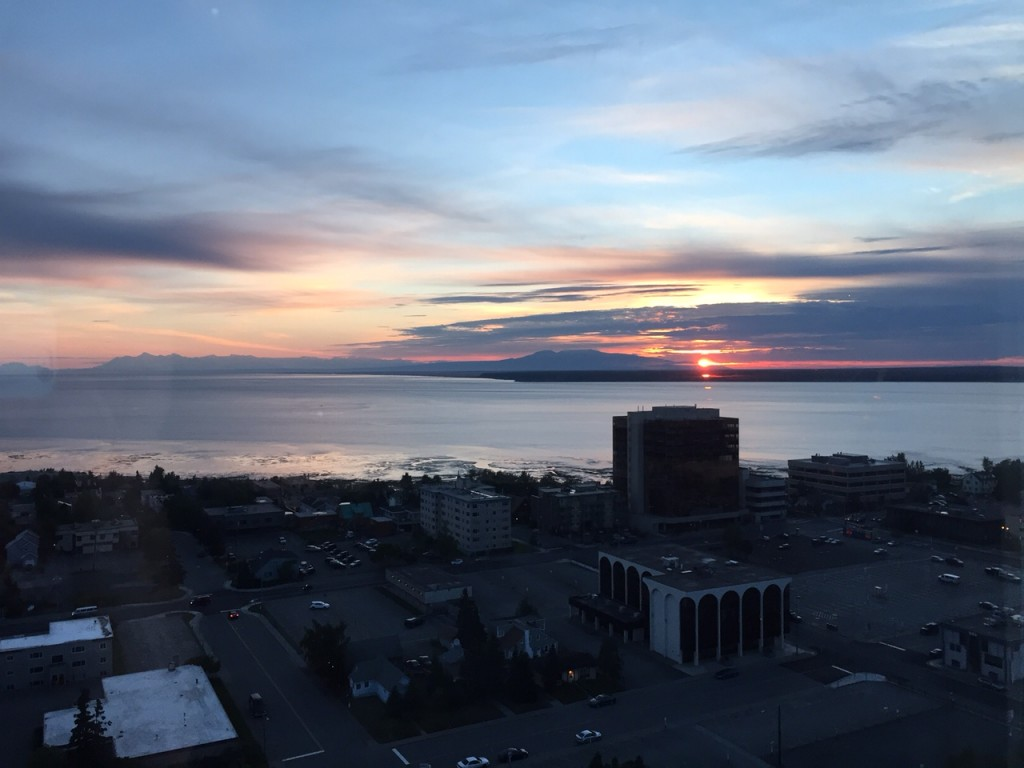 Sunset over downtown Anchorage.