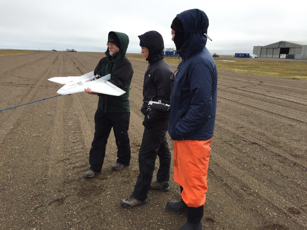 Dale, Nathan and Will prepare to launch the DataHawk 2 from the runway.