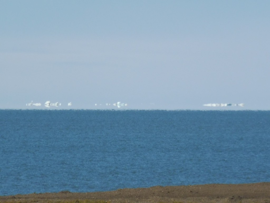 Icebergs and the offshore sea ice, with full mirage effect due to the cold ocean surface.