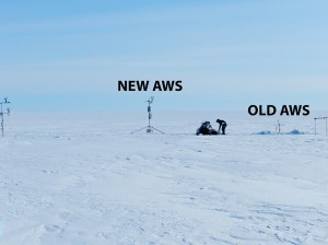 Weather stations at KAN-U. Replacing old AWS tower with new one. Photo courtesy Achim Heilig, ACT 2015