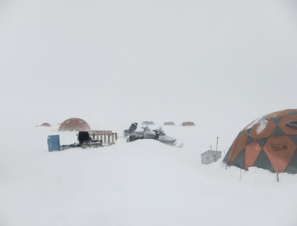 White-out conditions in camp. Photo by Mike MacFerrin, ACT 2012.