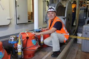 Professor Yoshihiro Ito with his equipment.