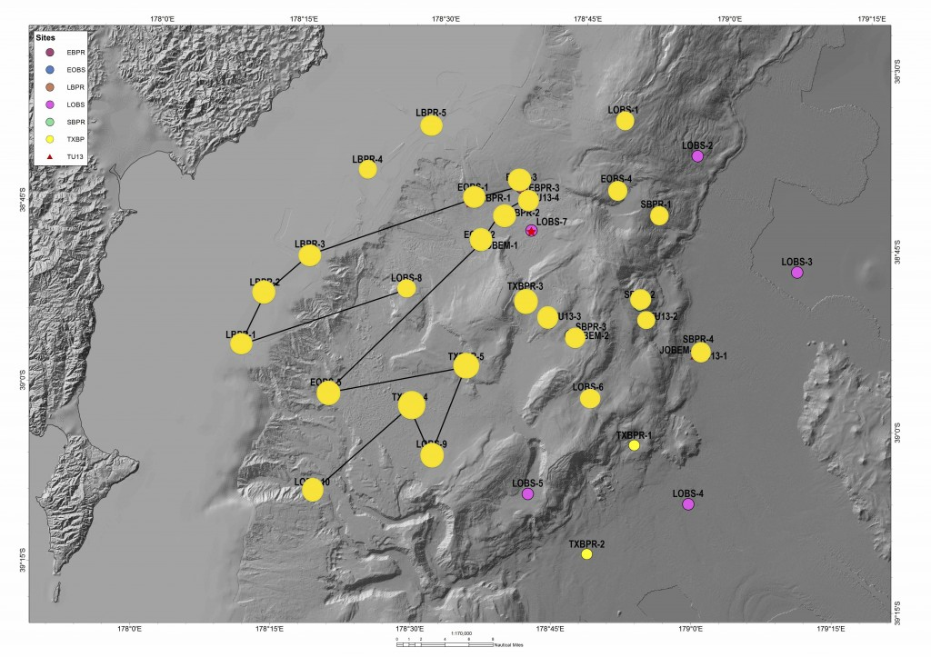 map showing locations of deployed instruments