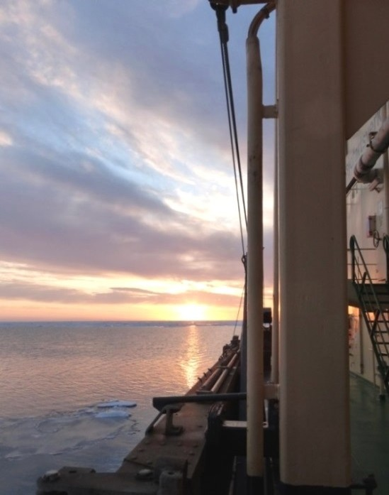 The sun sets on leg one of the Oden's Arctic voyage.