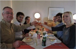 A toast to the end of a long successful cruise: Dan, John, Georgia, Arne, Francesco, Caroline