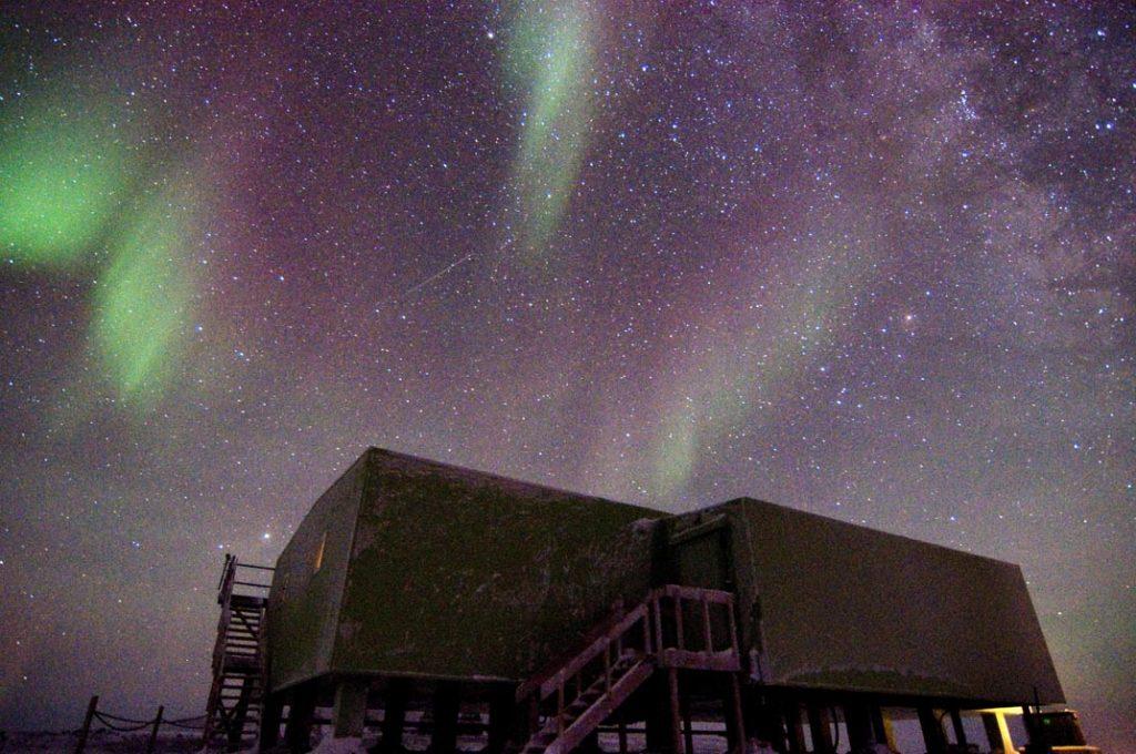 Aurora, shooting star, and lidar beams