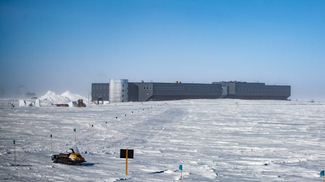 photo of the Amundsen-Scott South Pole Station in Antarctica