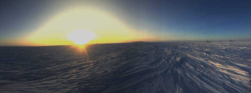 """The sun is up, the winter is over!"" is a phrase that has become popular around the station. With the polar plateau fully lit, for the first time in six months one can see from horizon to horizon without straining their eyes. (Photo: R. Klein)"