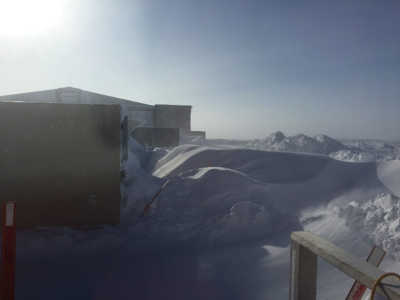 Some of the snow drifts building up around the site…